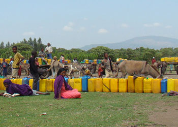 Después de esperar durante horas para llenar sus jarras, muchos aldeanos transportarán el agua unos 16 kilómetros (10 millas) o más hasta sus hogares, más allá de las montañas que se observan al fondo. Foto de Benjamin Krause/CRS