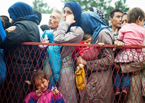 Refugiados sirios esperan en fila mientras la Cruz Roja reparte alimentos en Belgrado, Serbia. De aquí irán en autobús a Kanjiza, la última parada antes de llegar a la frontera con Hungría. Foto de Kira Horvath para CRS.