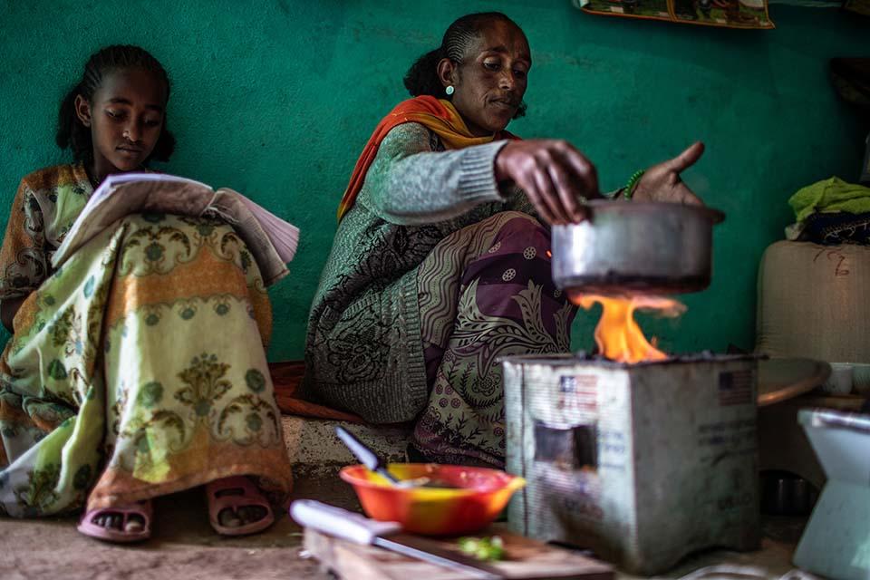 Preparing a meal in ethiopia.